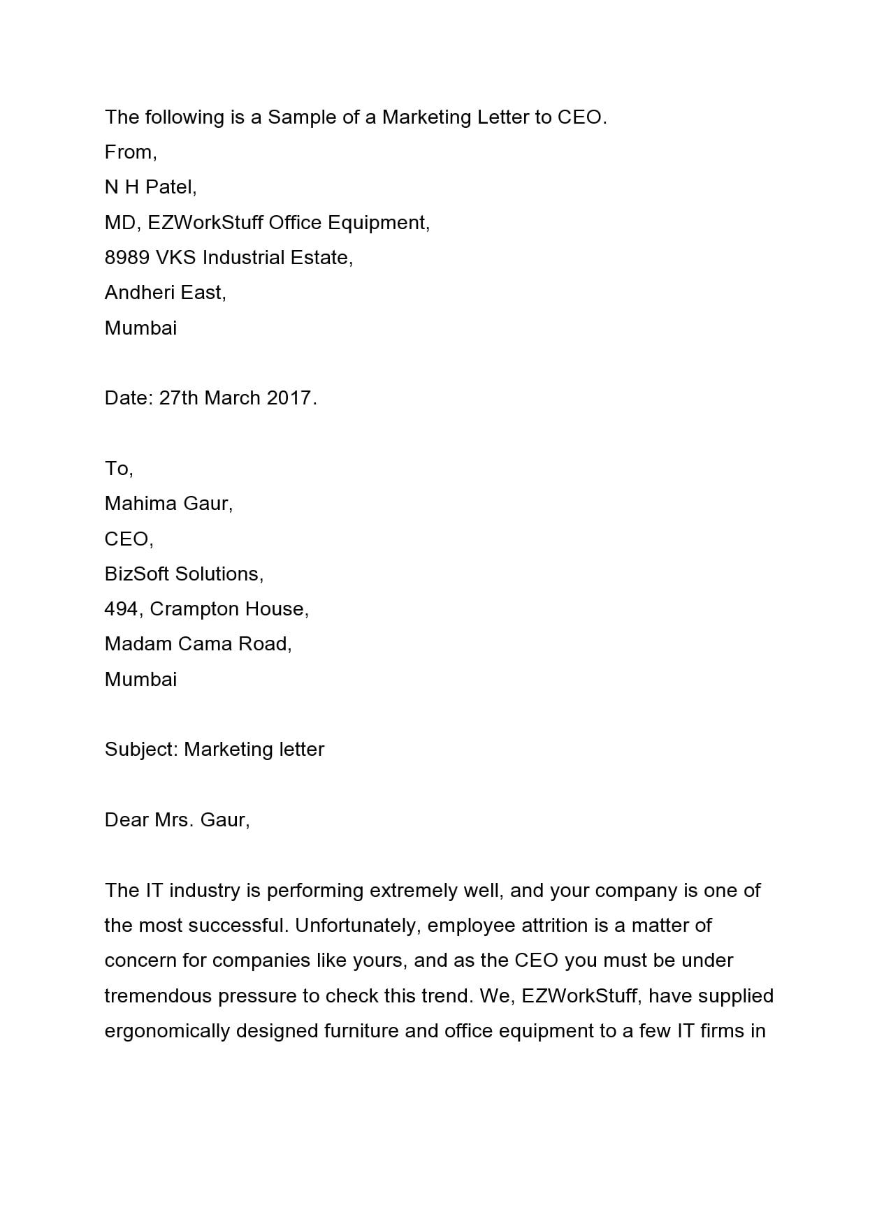 marketing letter 21