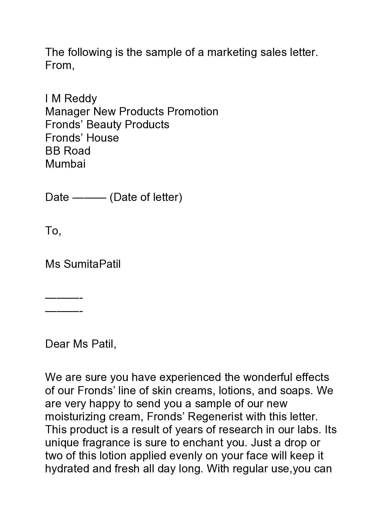 marketing letter 22