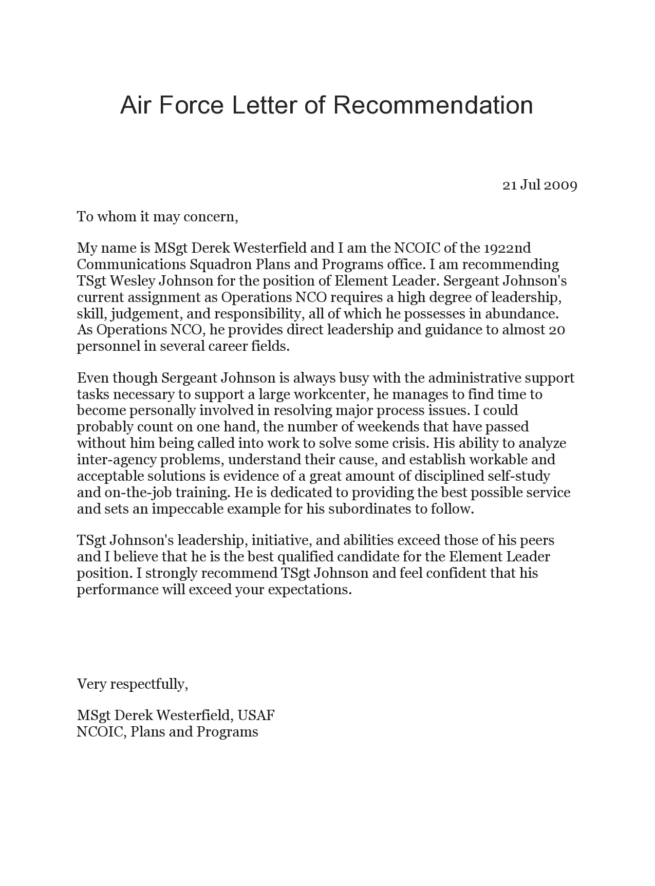 military letter of recommendation 10