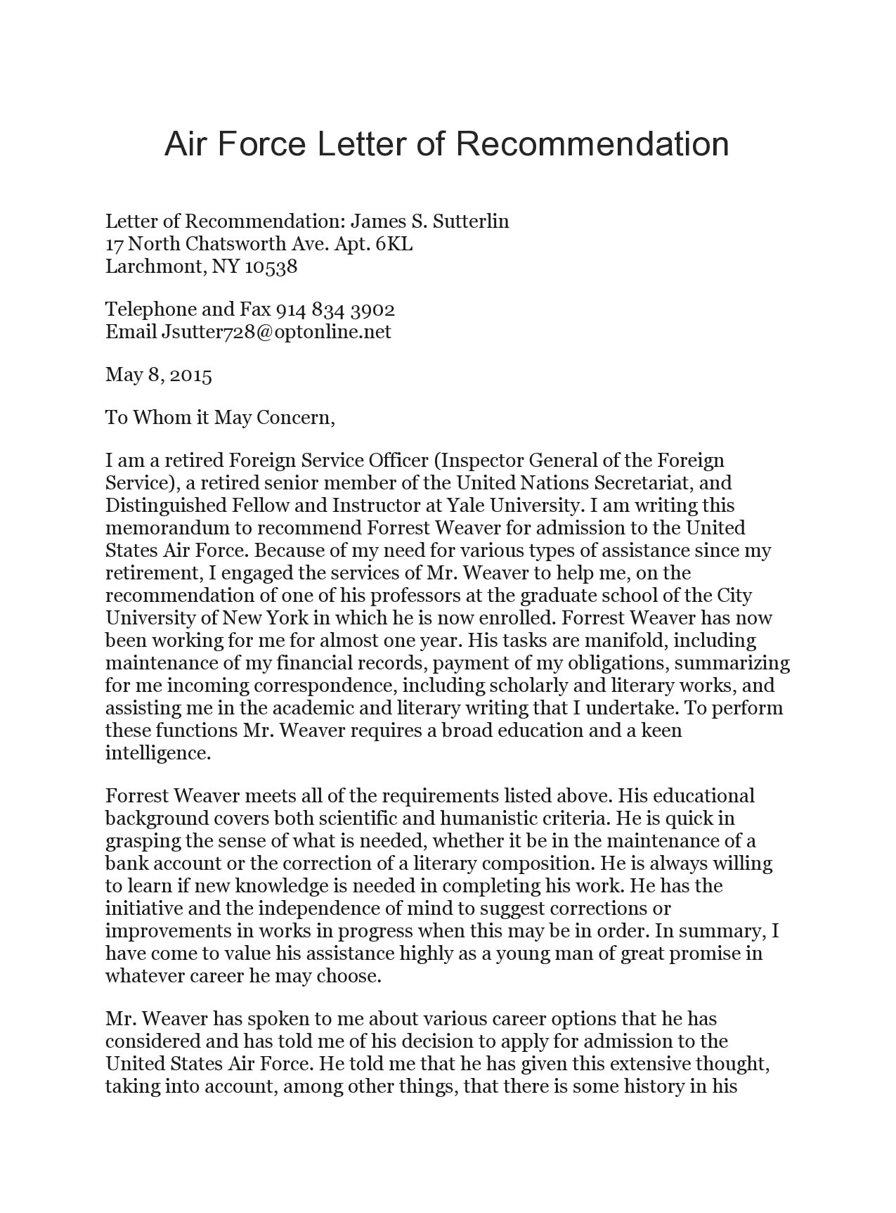 military letter of recommendation 14