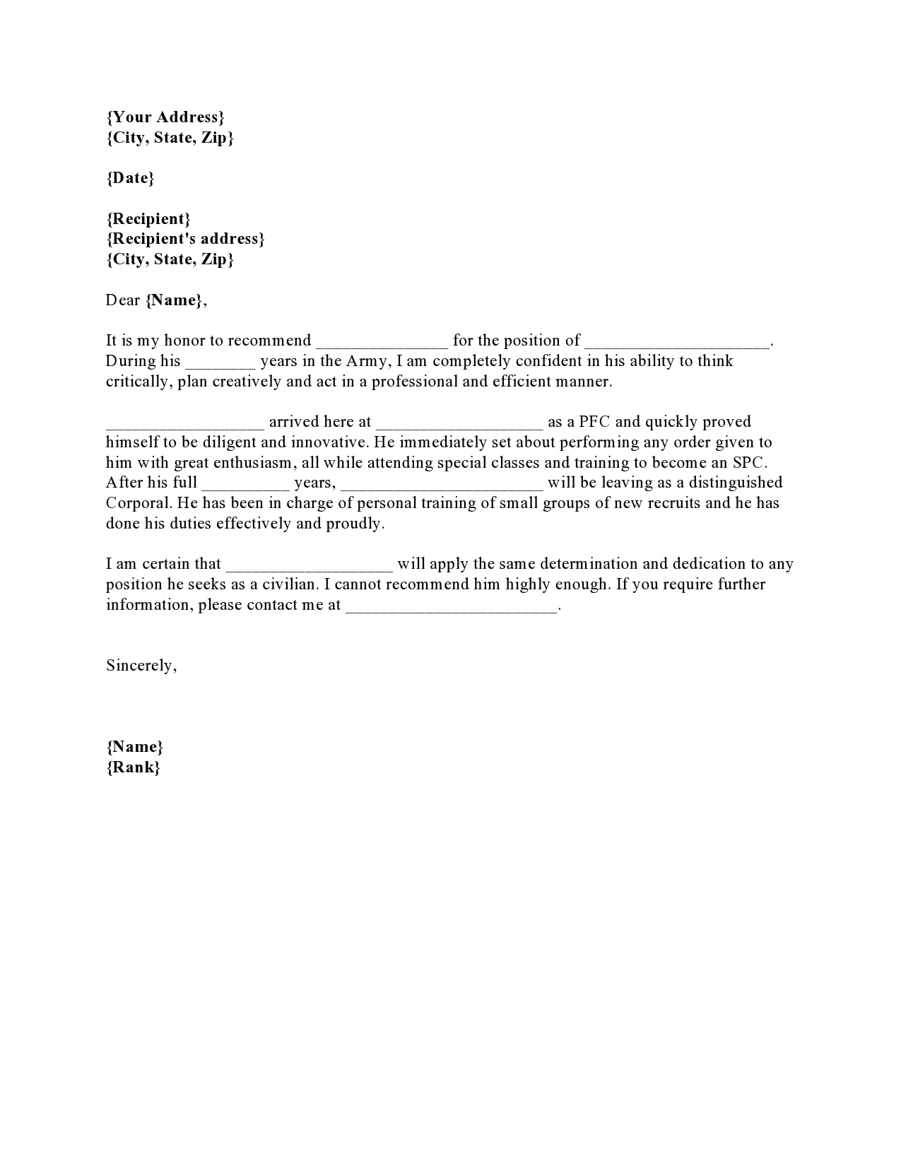 military letter of recommendation 16