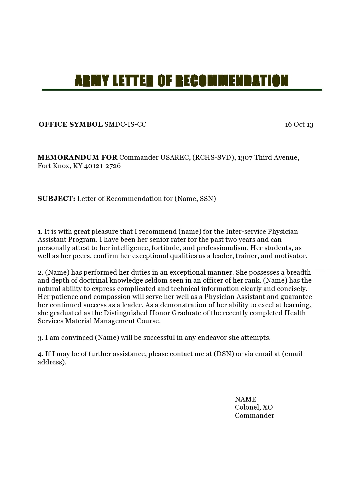 military letter of recommendation 20