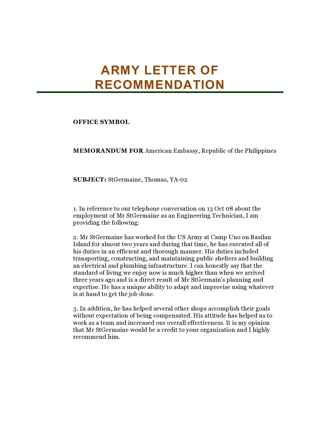 military letter of recommendation 22