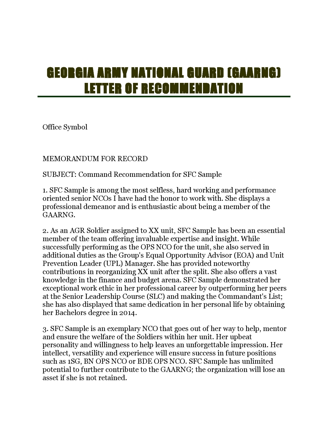 military letter of recommendation 24