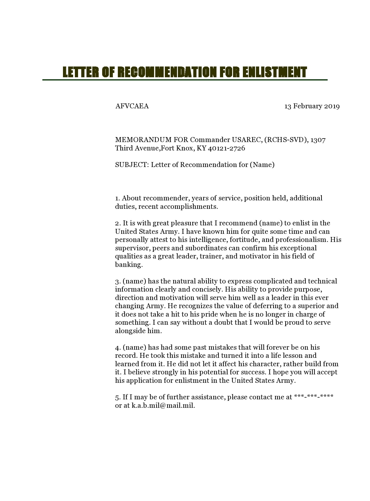military letter of recommendation 26