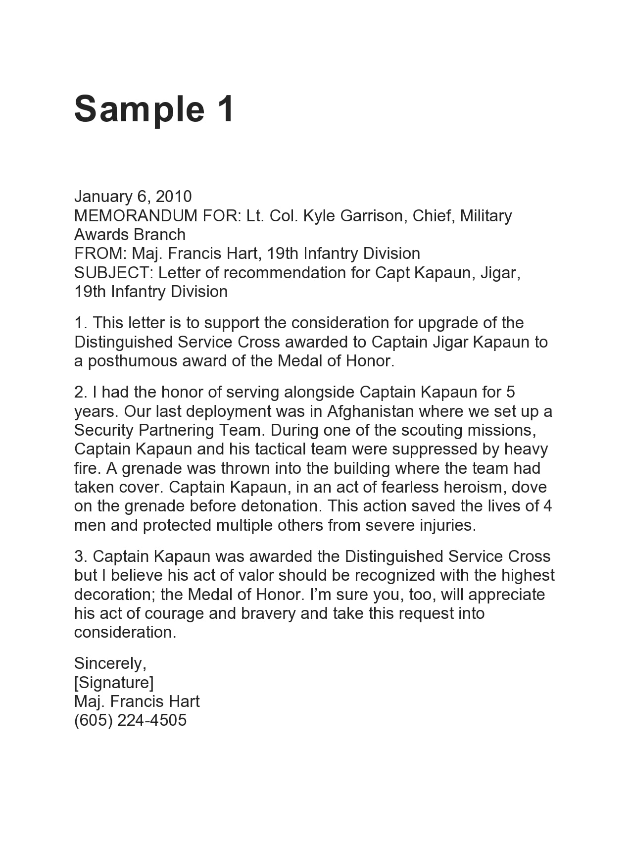 military letter of recommendation 30