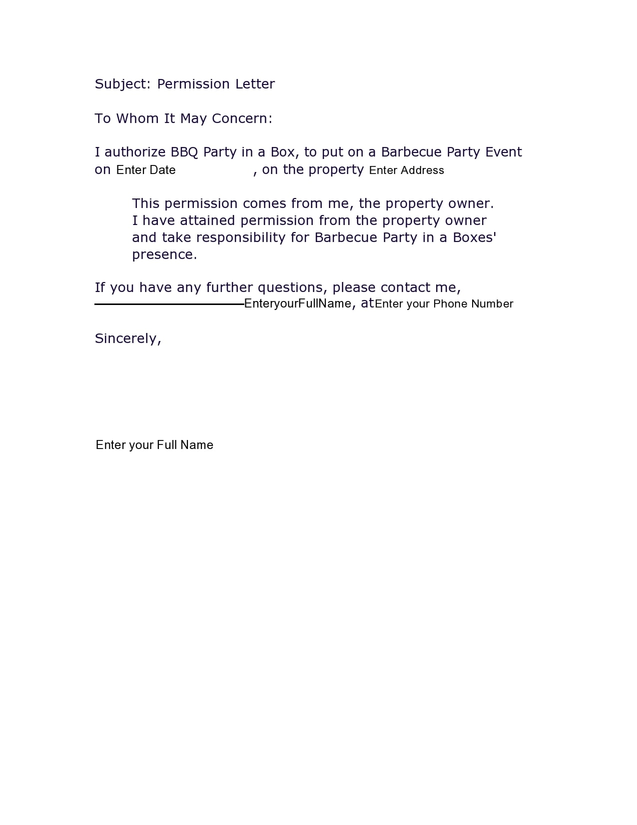 permission letter 11