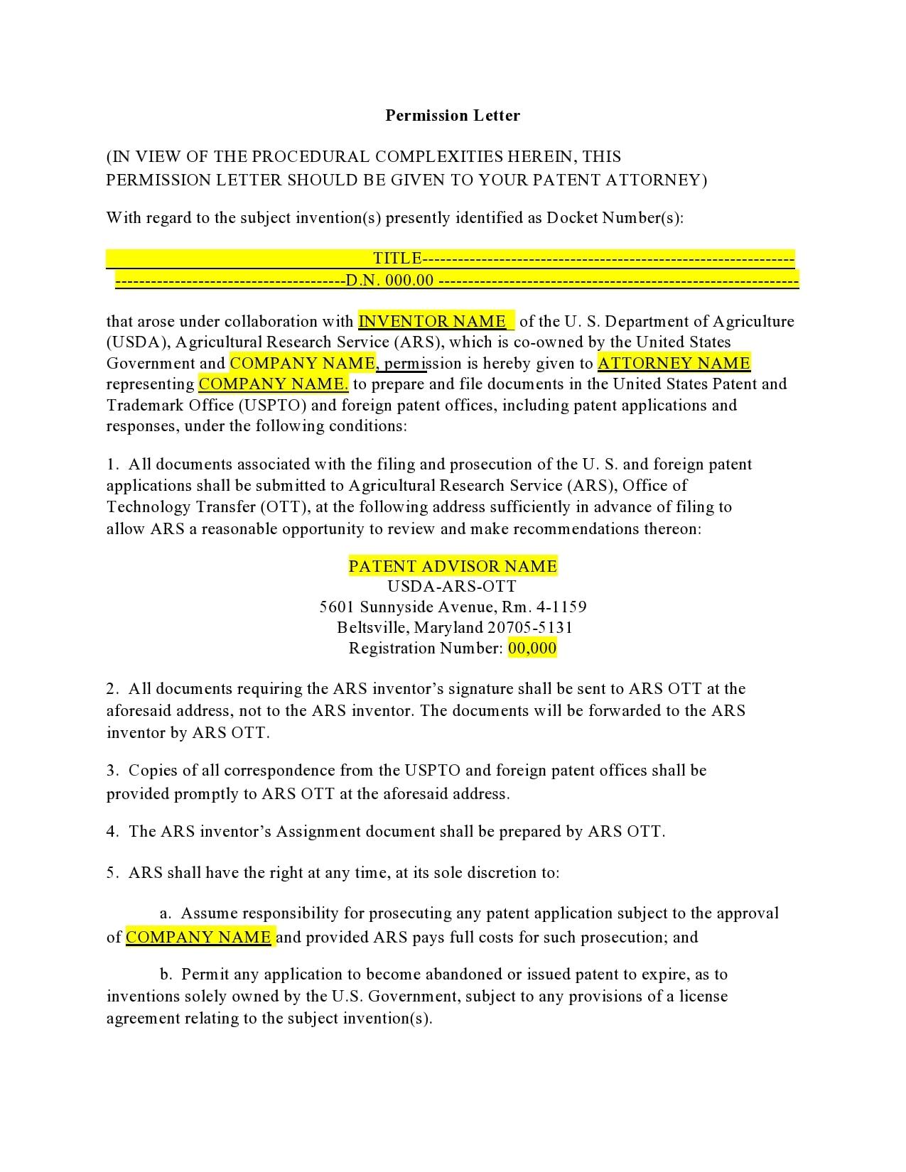 permission letter 30