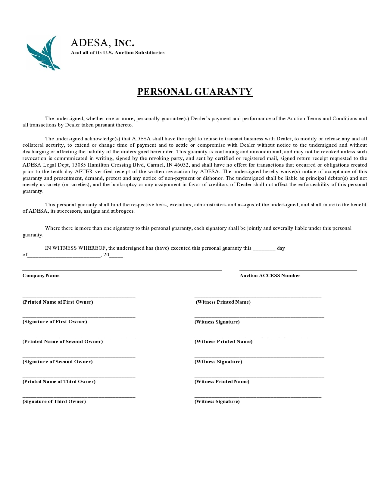 personal guarantee form 01