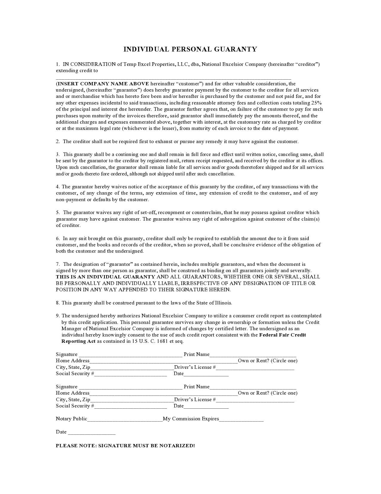 personal guarantee form 11