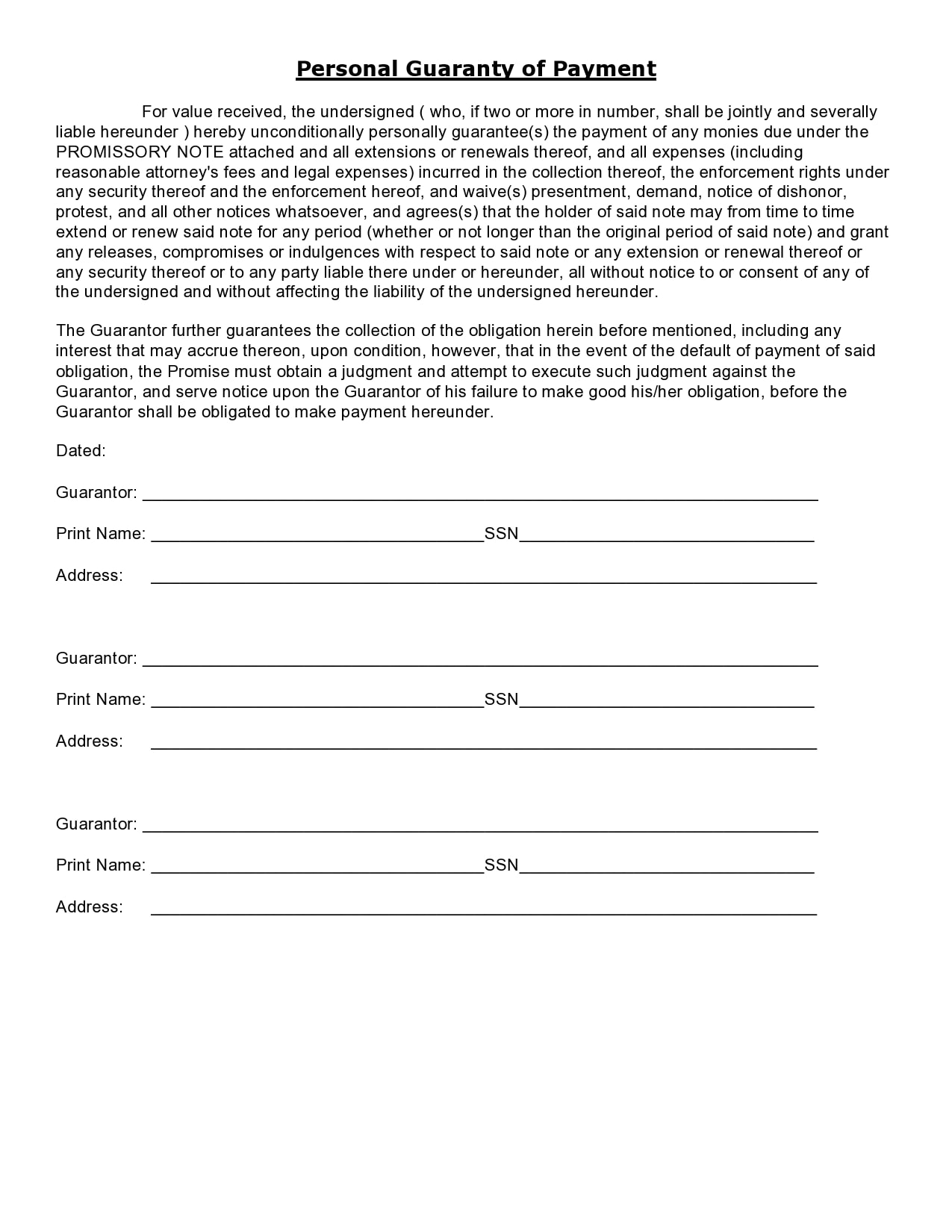personal guarantee form 12