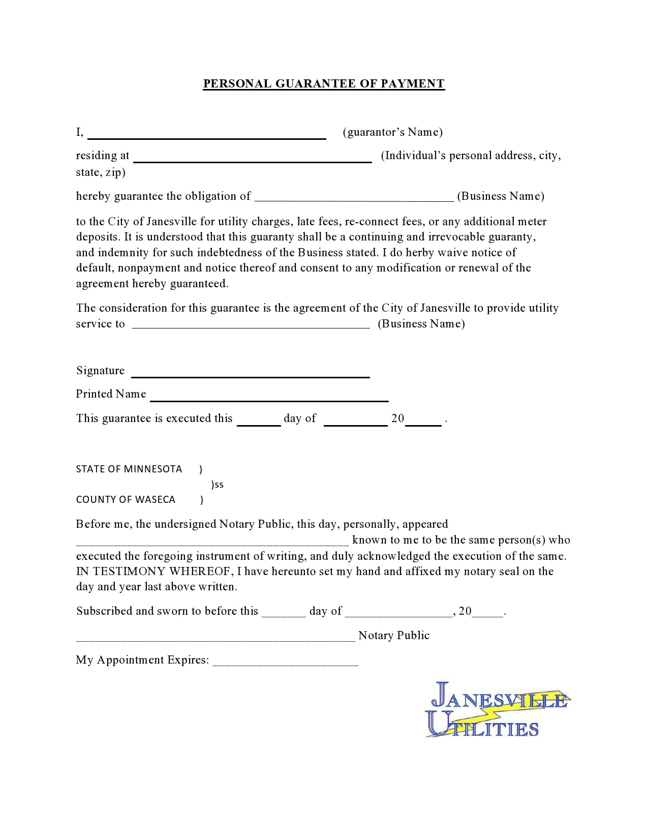personal guarantee form 14