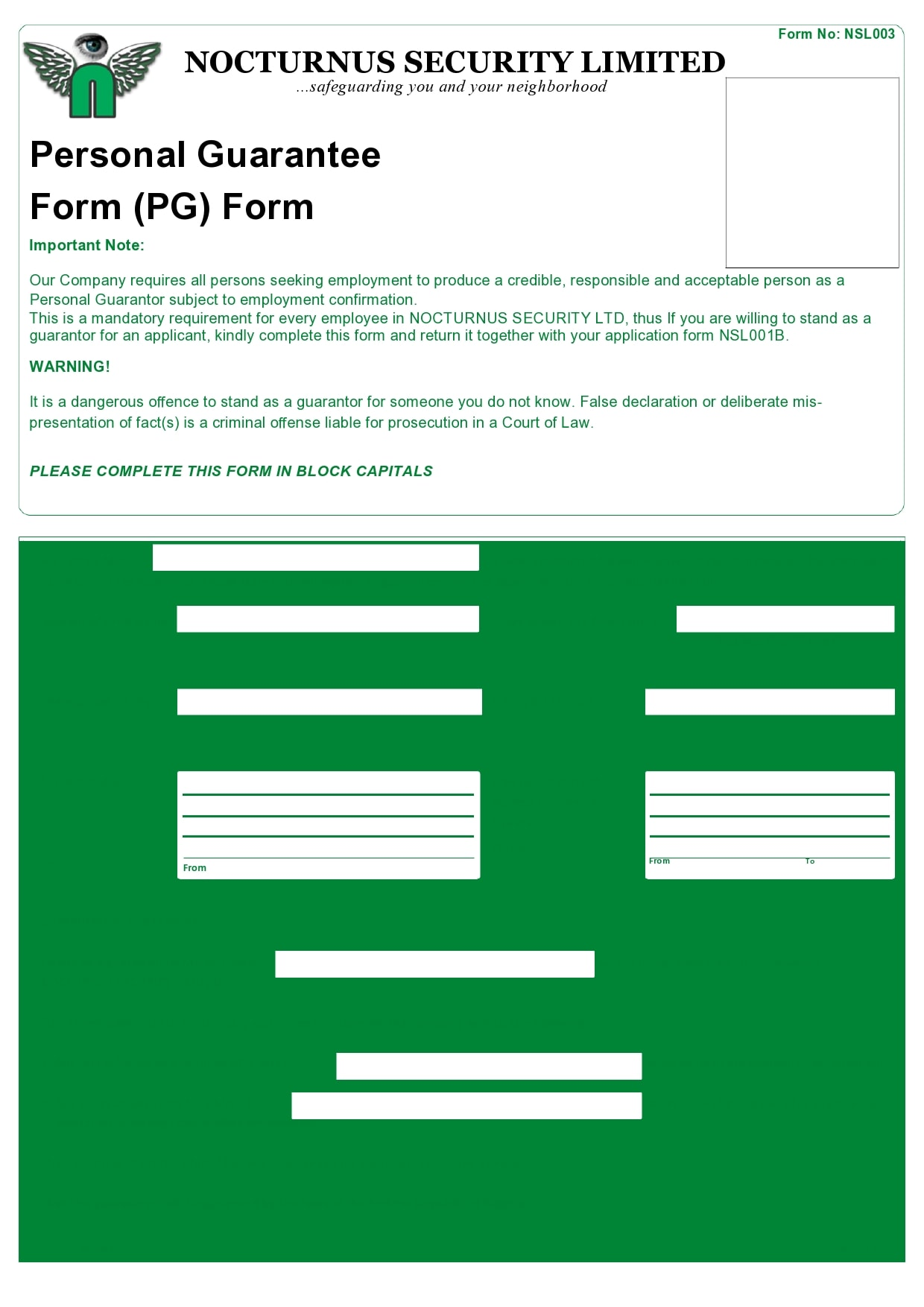 personal guarantee form 18