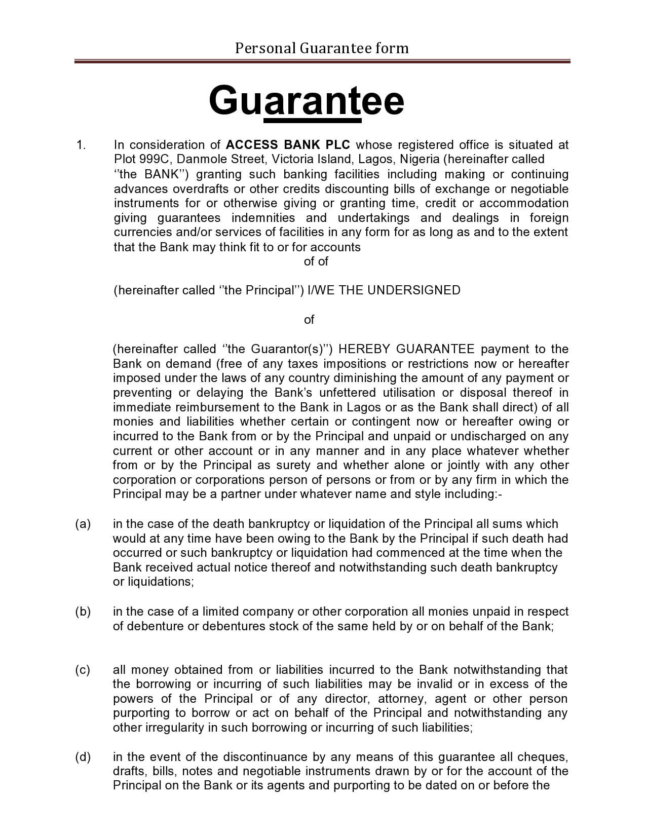 personal guarantee form 19