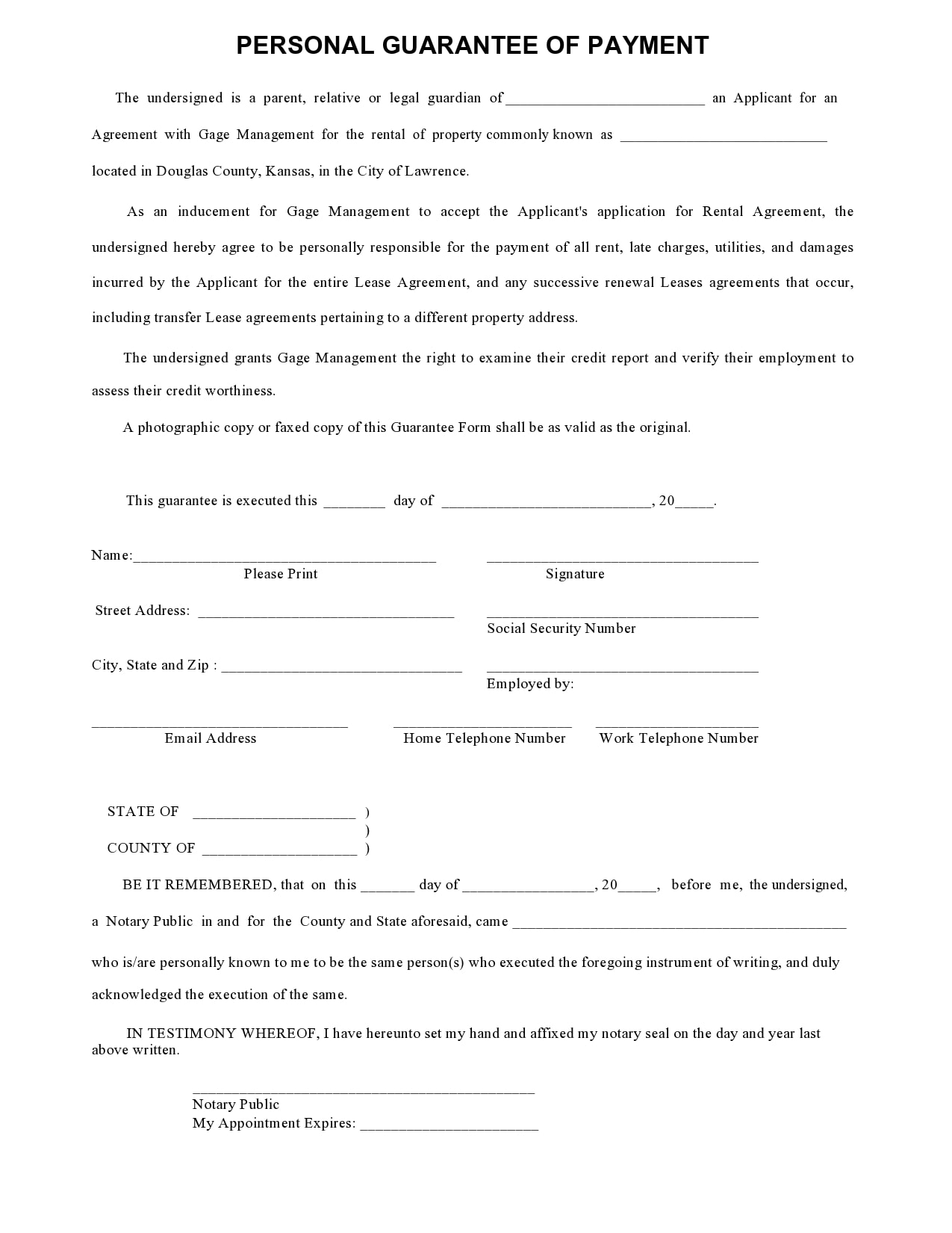 personal guarantee form 20