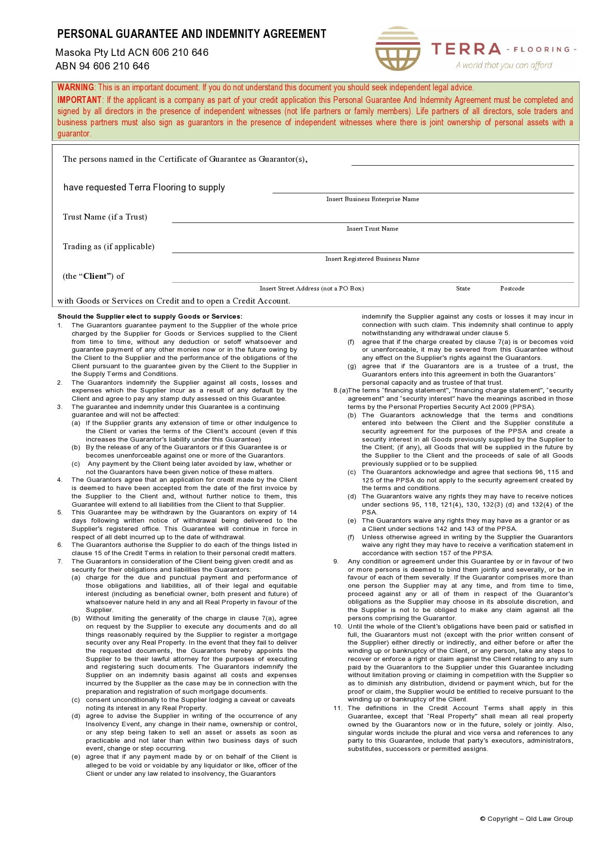 personal guarantee form 30
