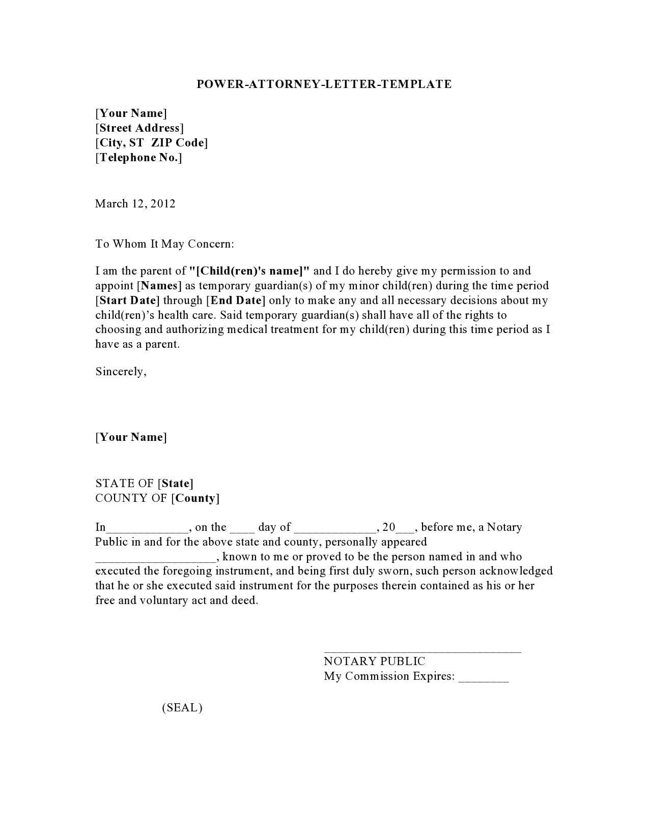 power of attorney letter 08