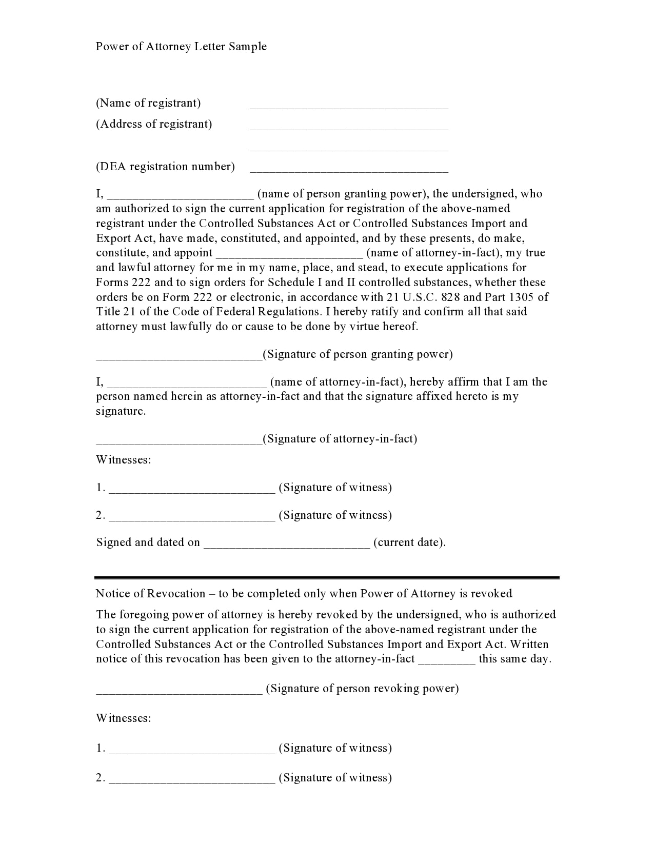 power of attorney letter 09