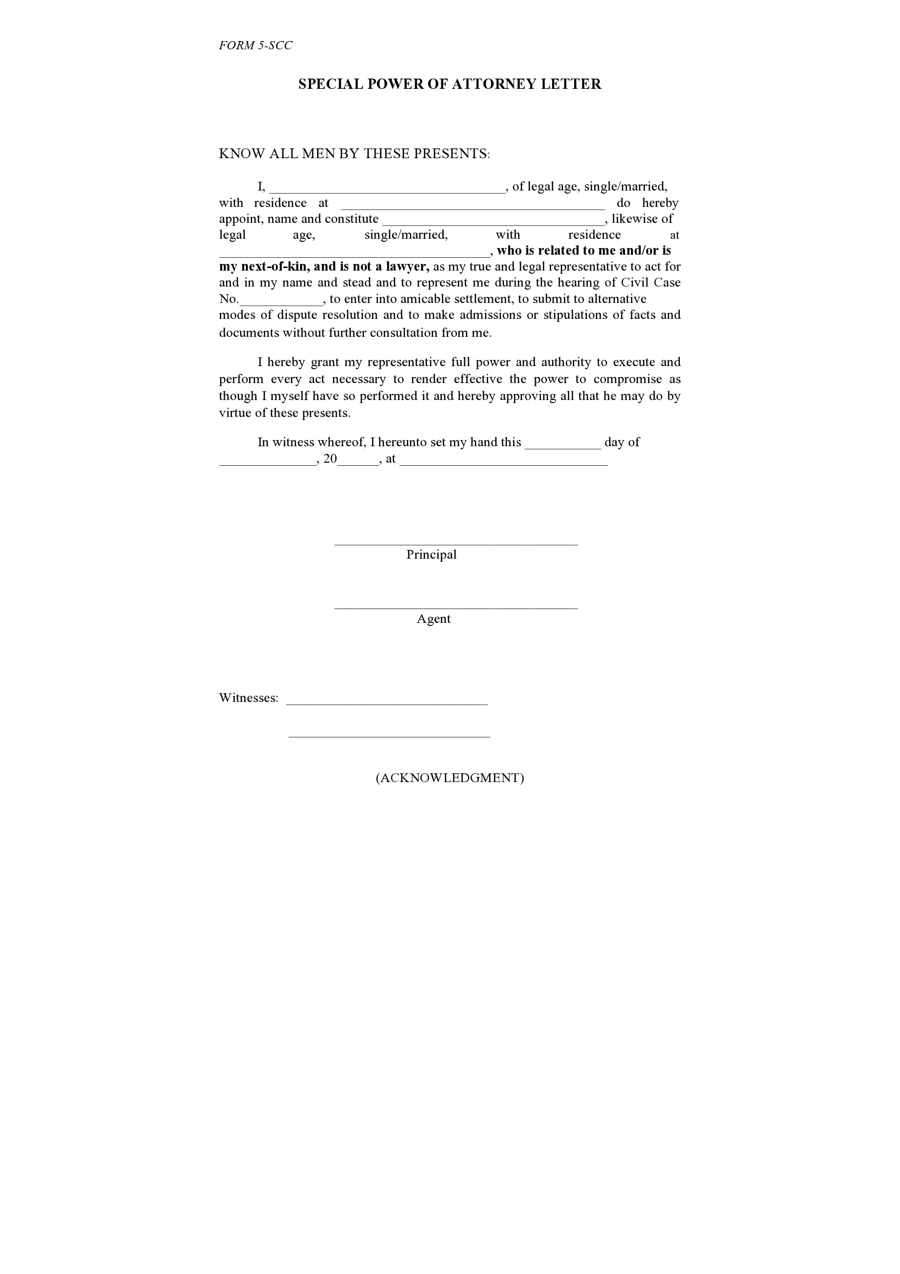 power of attorney letter 19