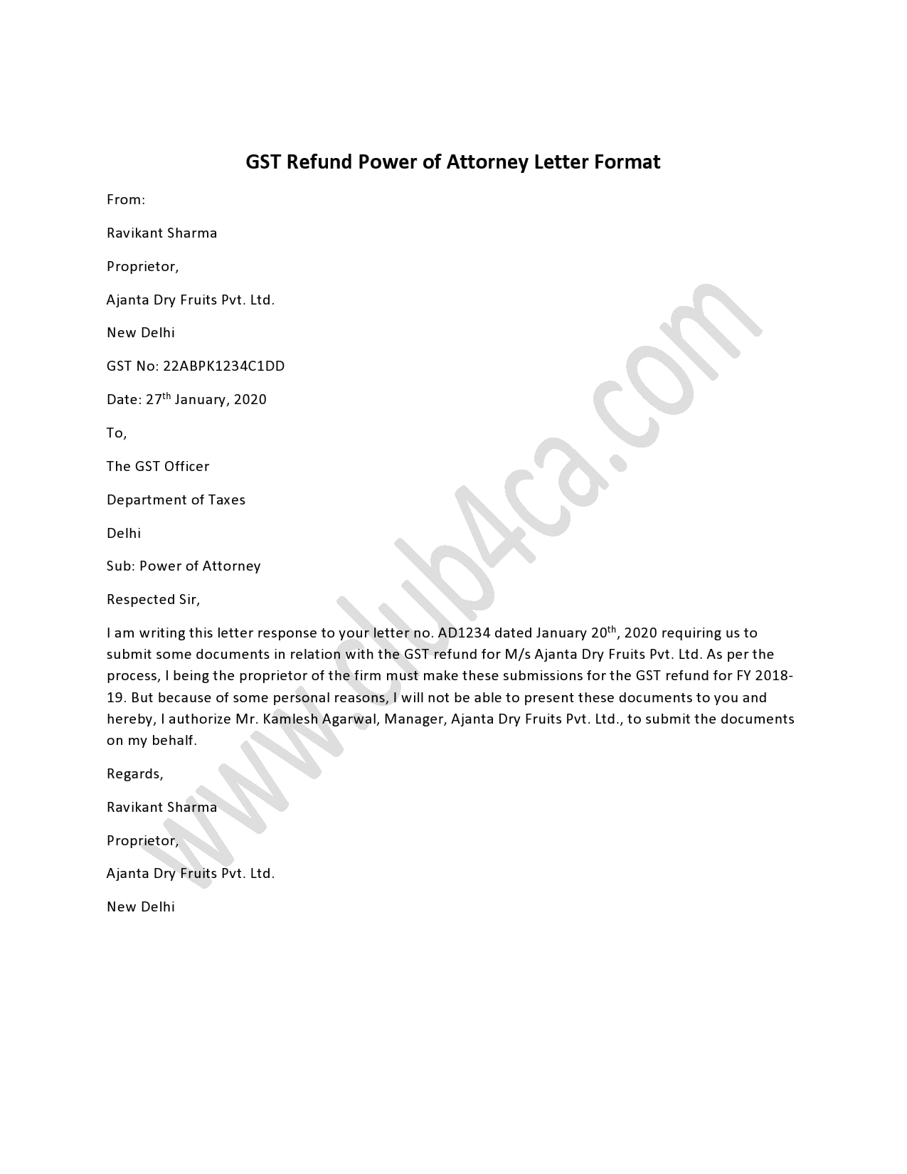 power of attorney letter 21