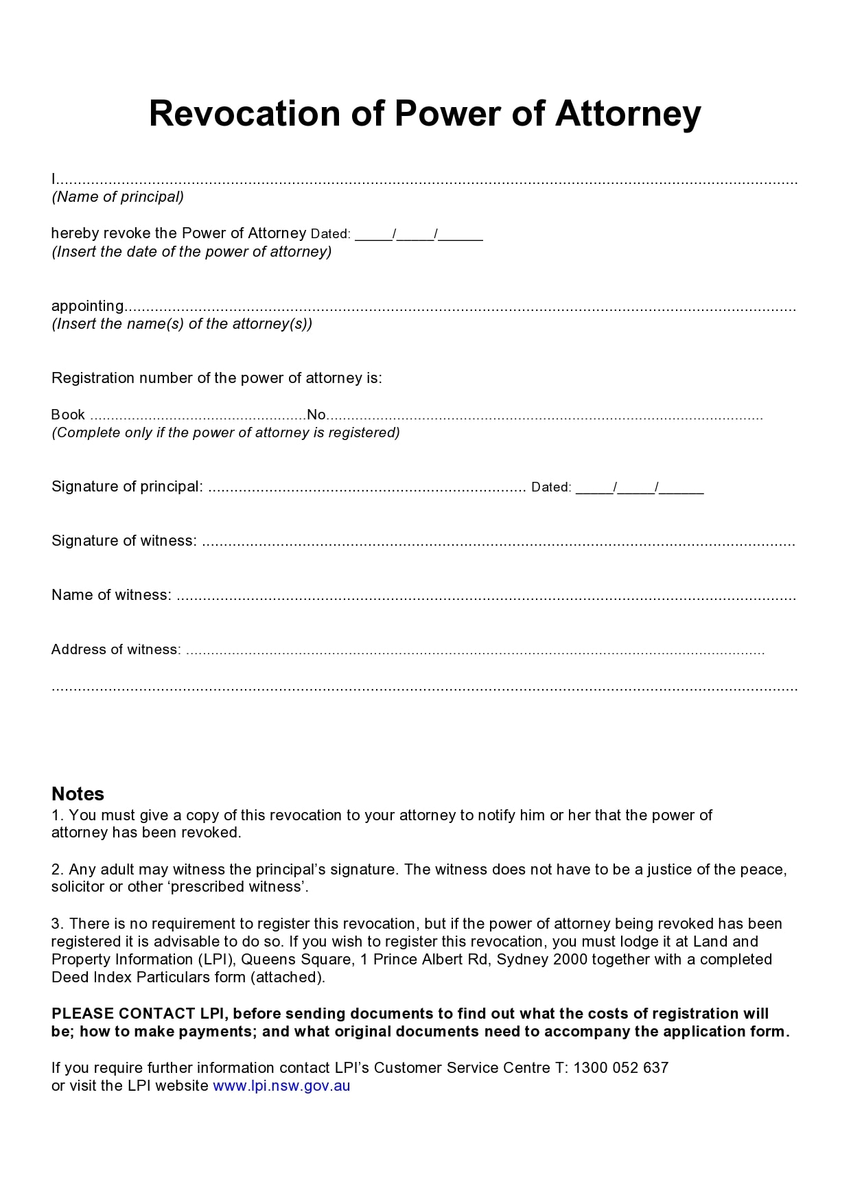 power of attorney revocation form 15