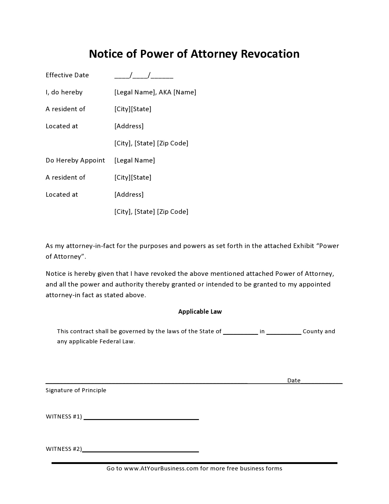 power of attorney revocation form 25