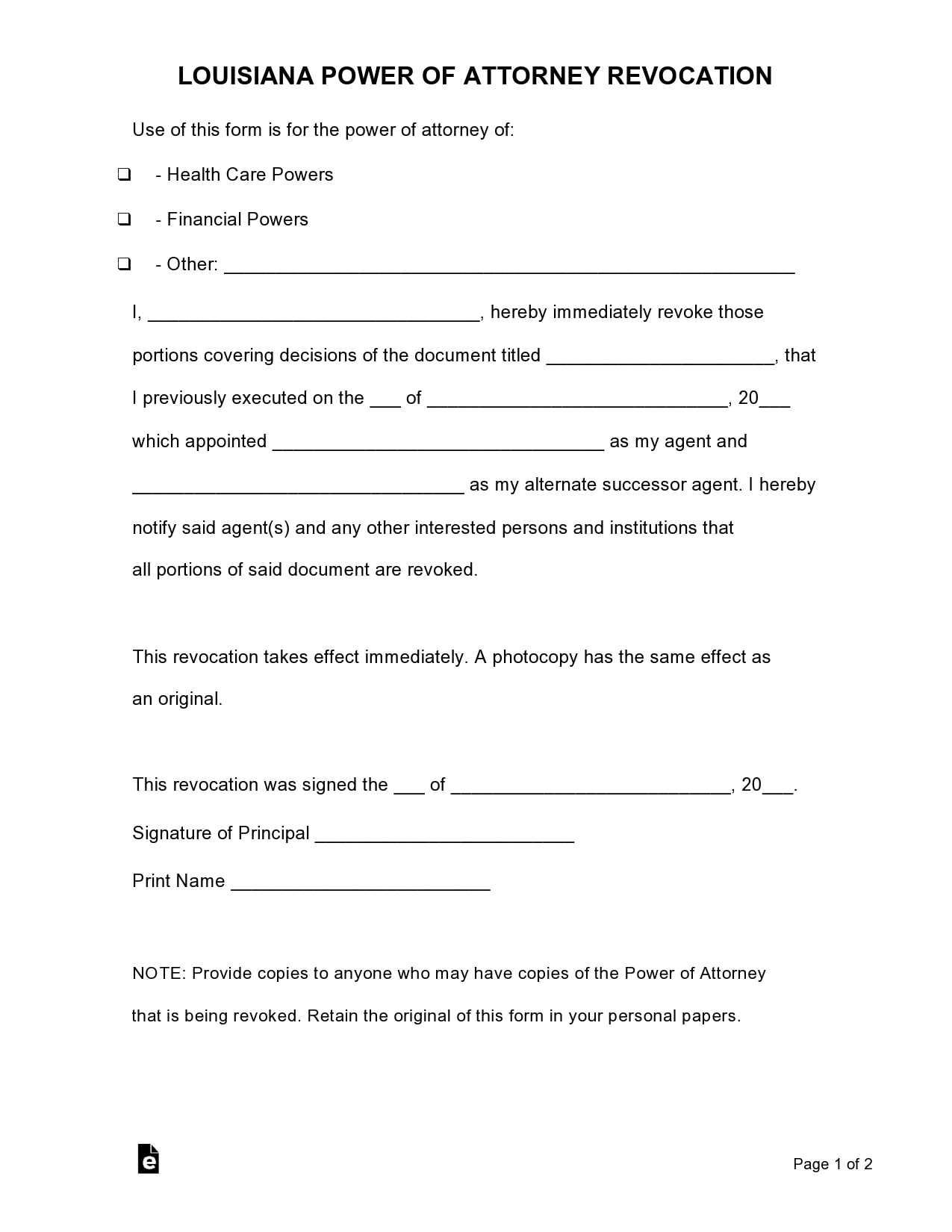 power of attorney revocation form 26