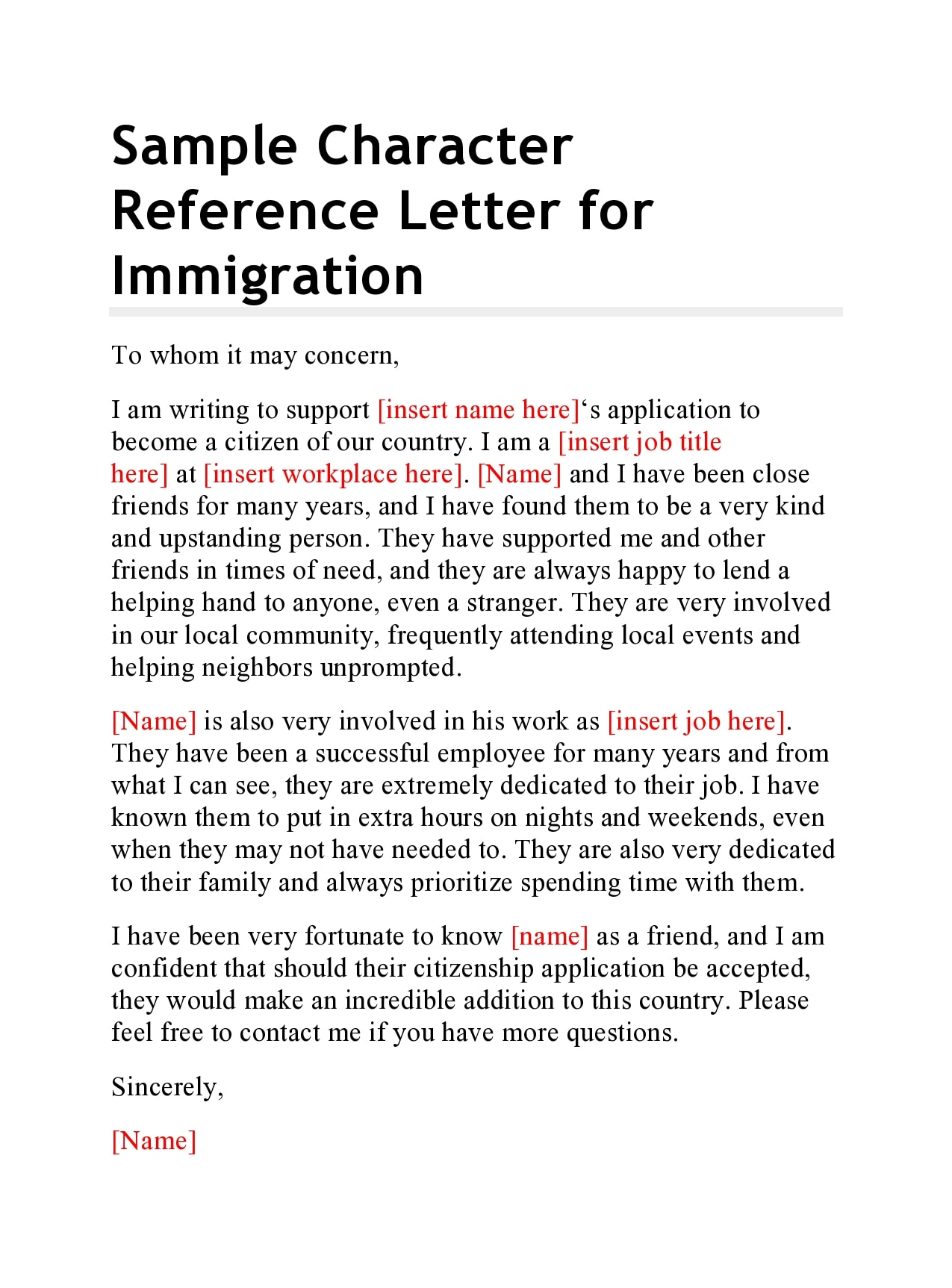 Character Reference Letter For Citizenship from templatearchive.com