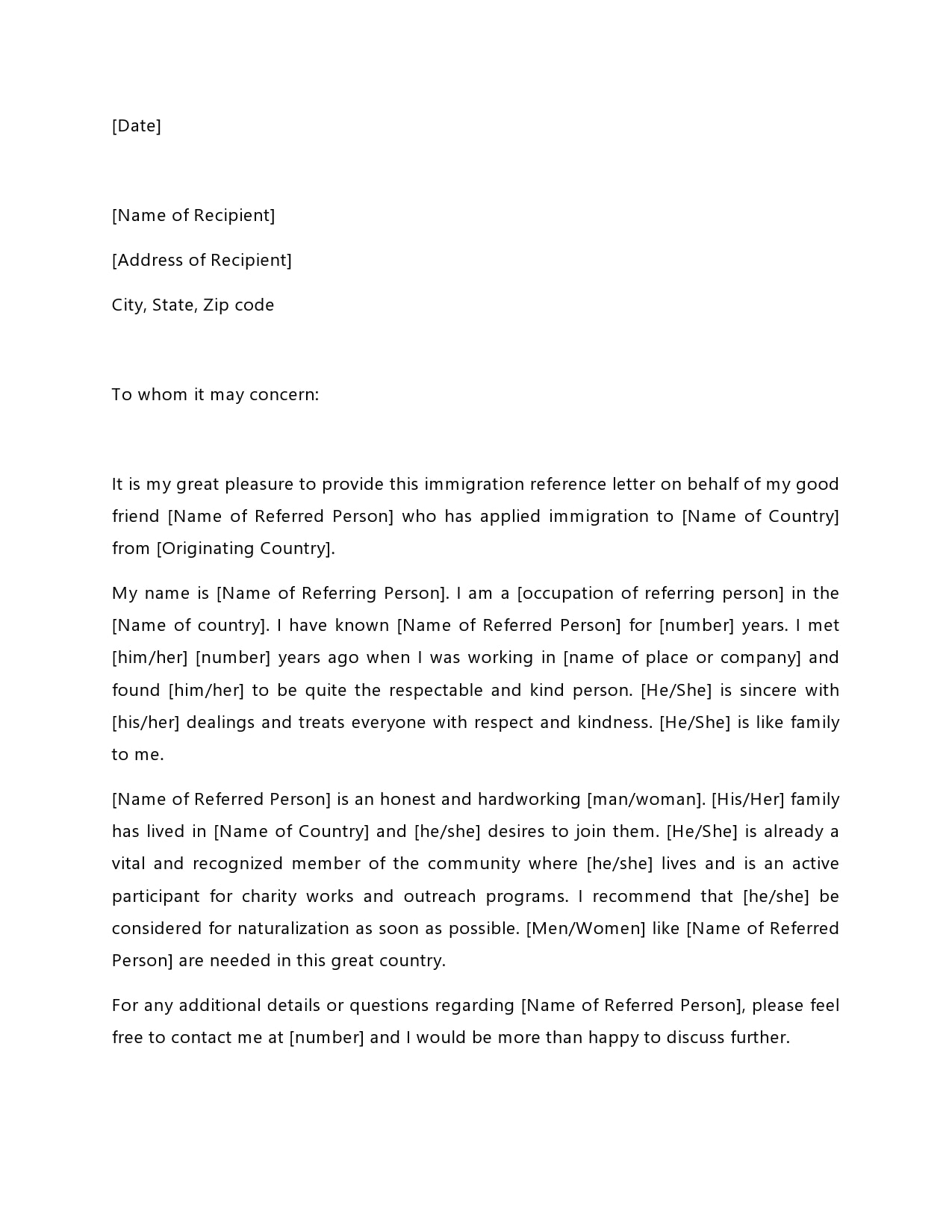 Letter Of Recommendation For A Family Member For Immigration from templatearchive.com