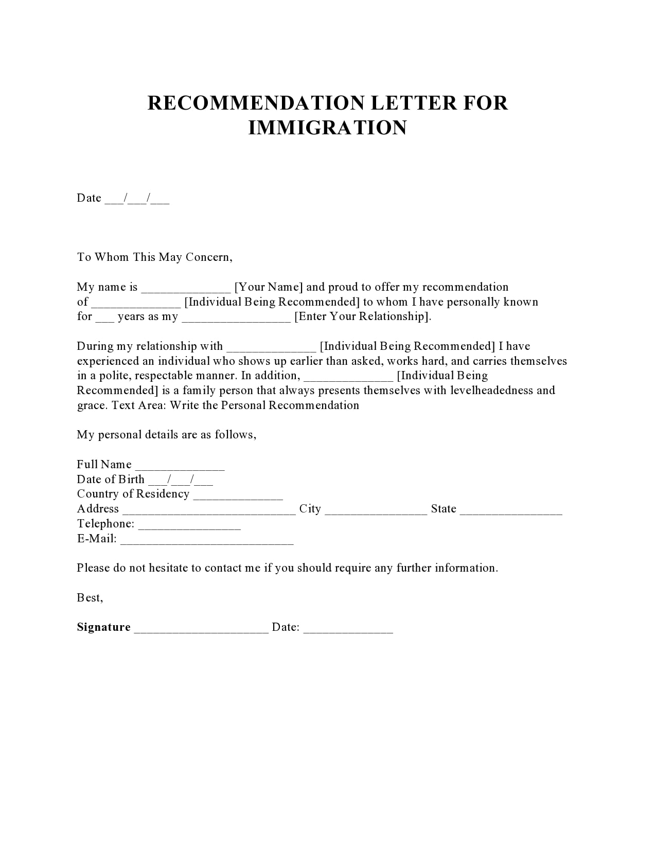 30 Best Reference Letter For Immigration Samples Templatearchive