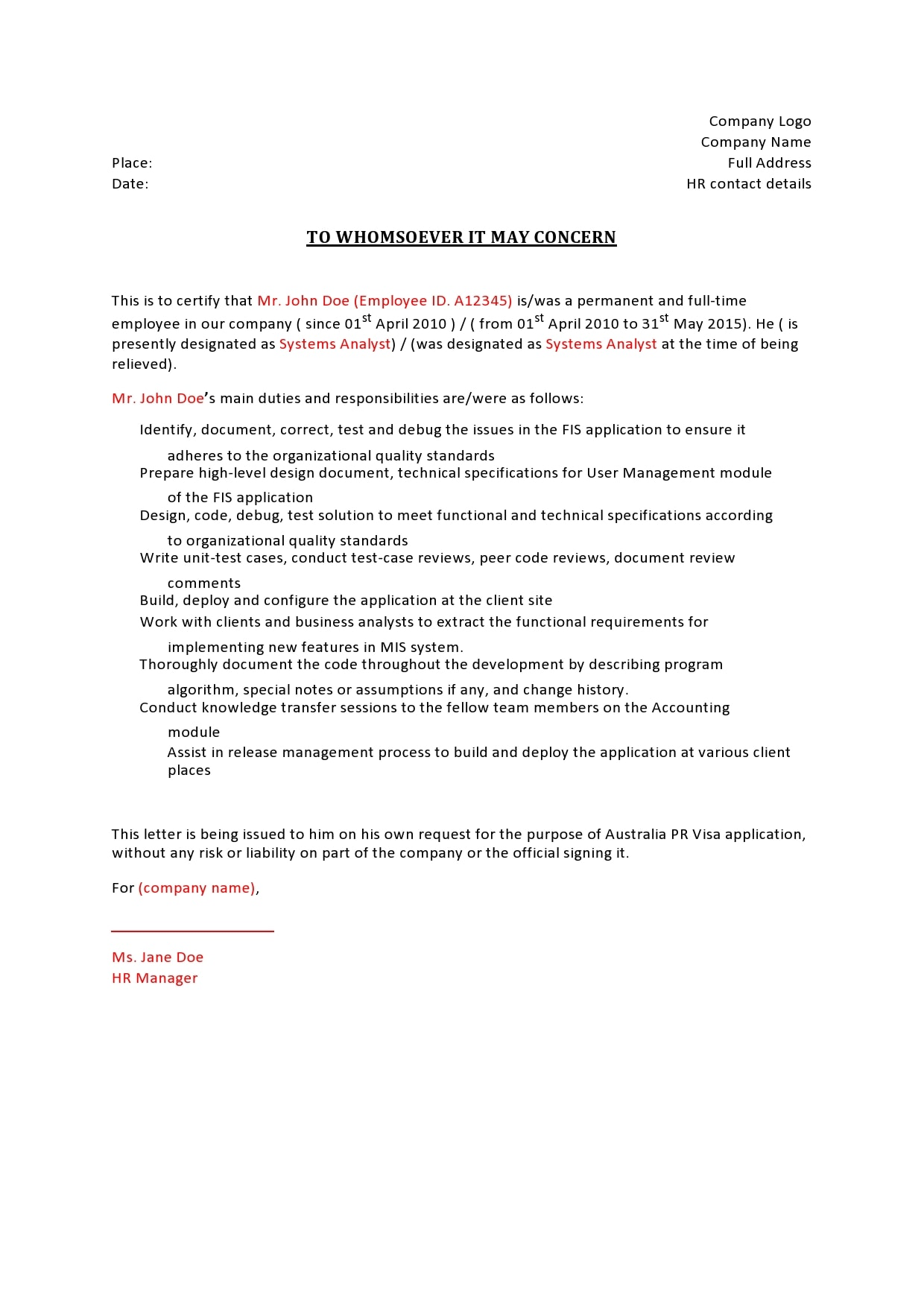 reference letter for immigration 15