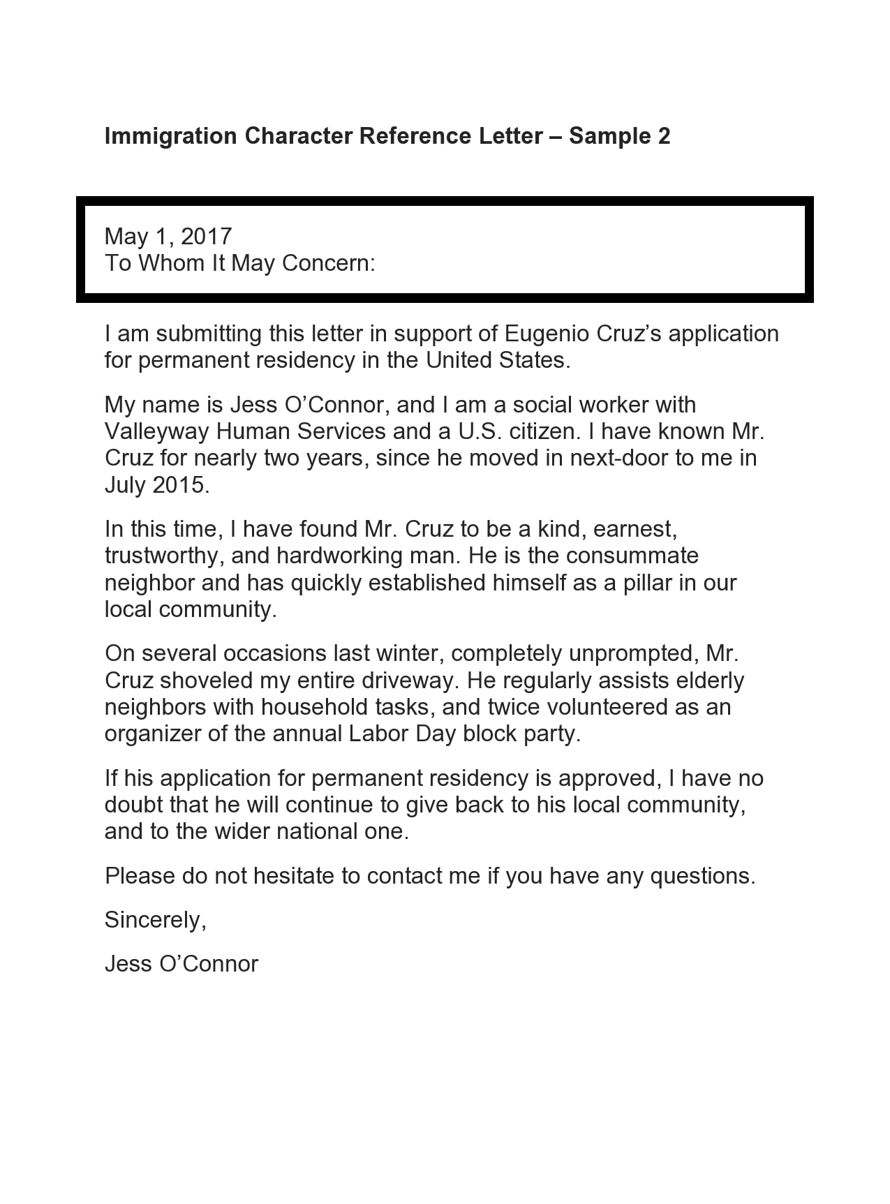 Sample Letter Of Recommendation For Immigration Residency from templatearchive.com