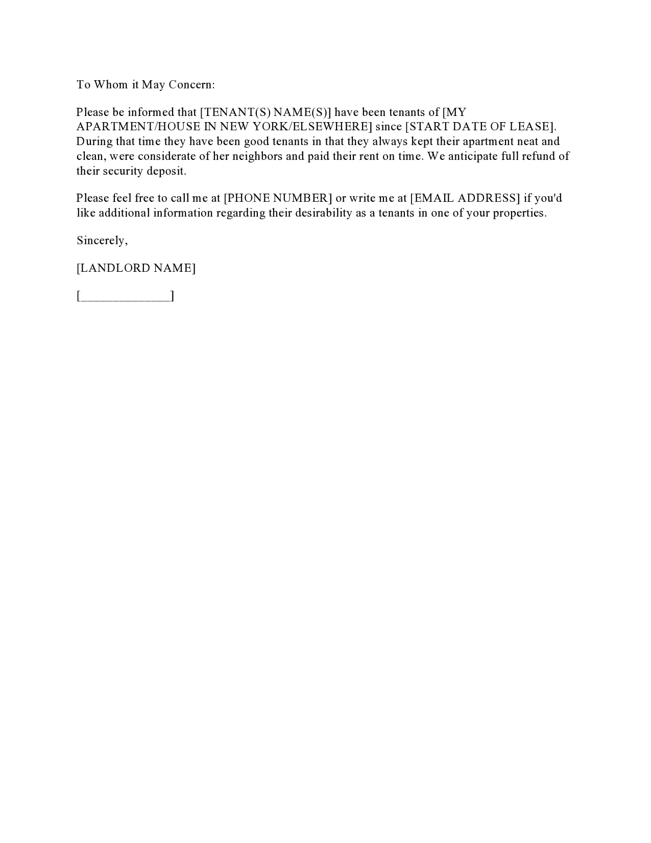 Reference Letter For Rental Property from templatearchive.com