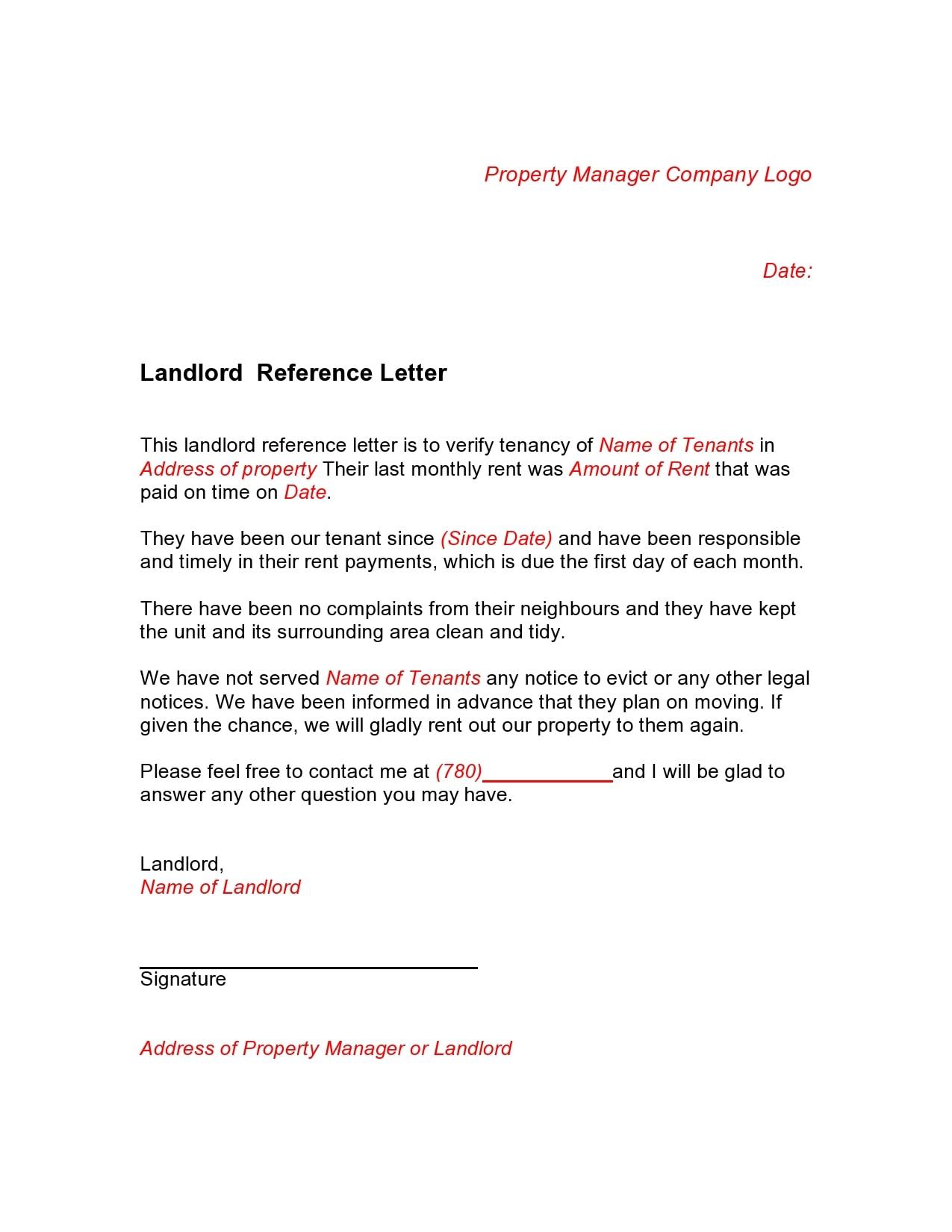 rental reference letter 14