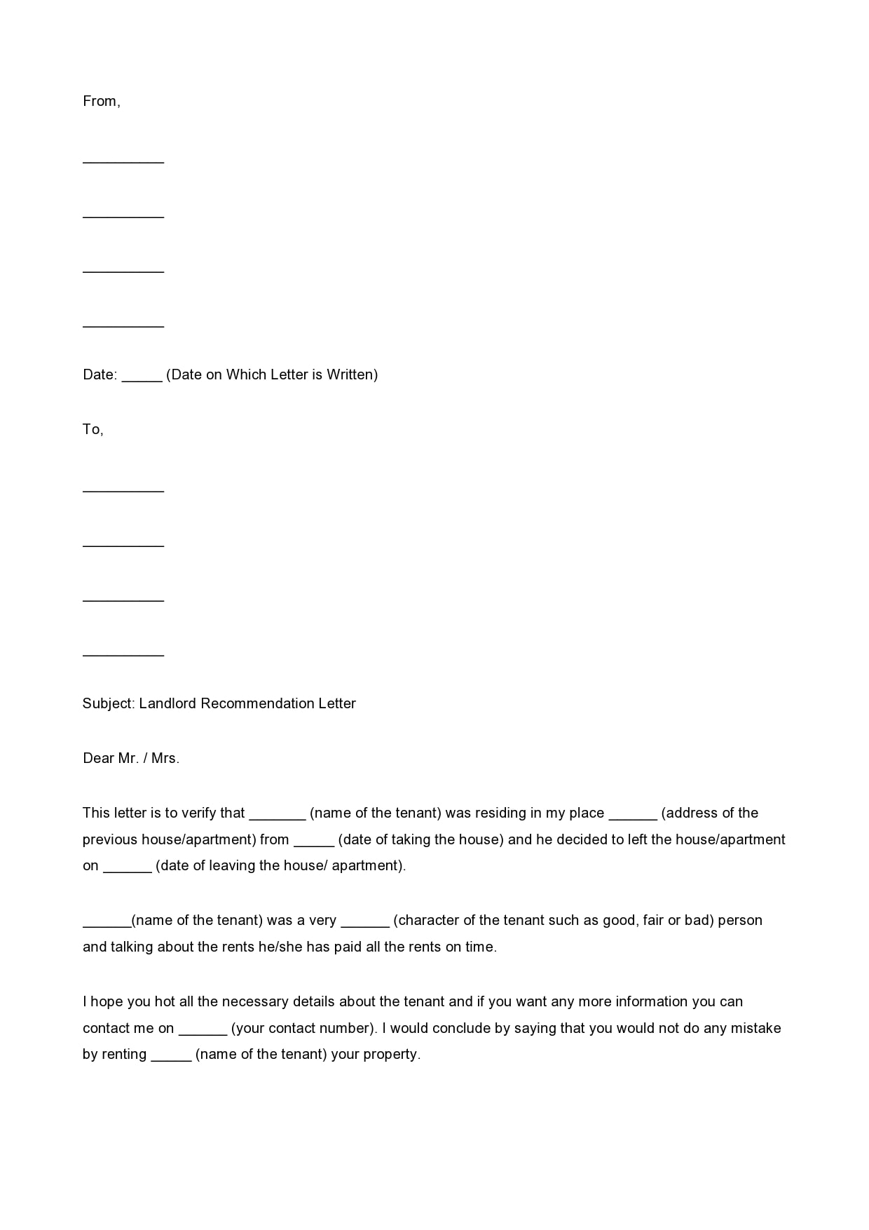 Reference Letter For Apartment Rental from templatearchive.com