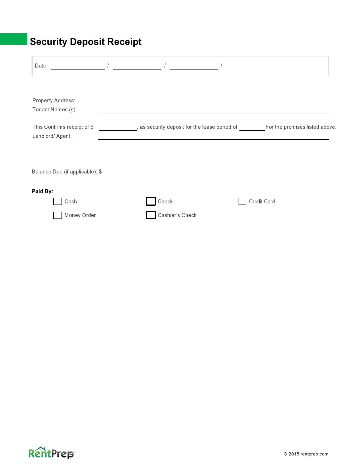 security deposit receipt 10