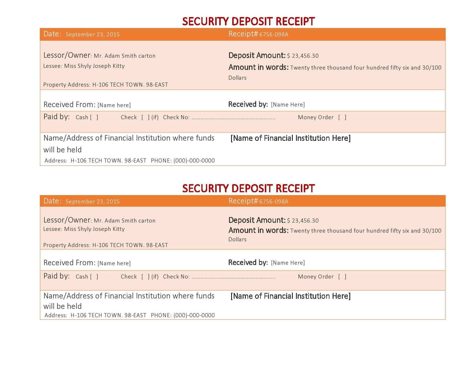 security deposit receipt 11