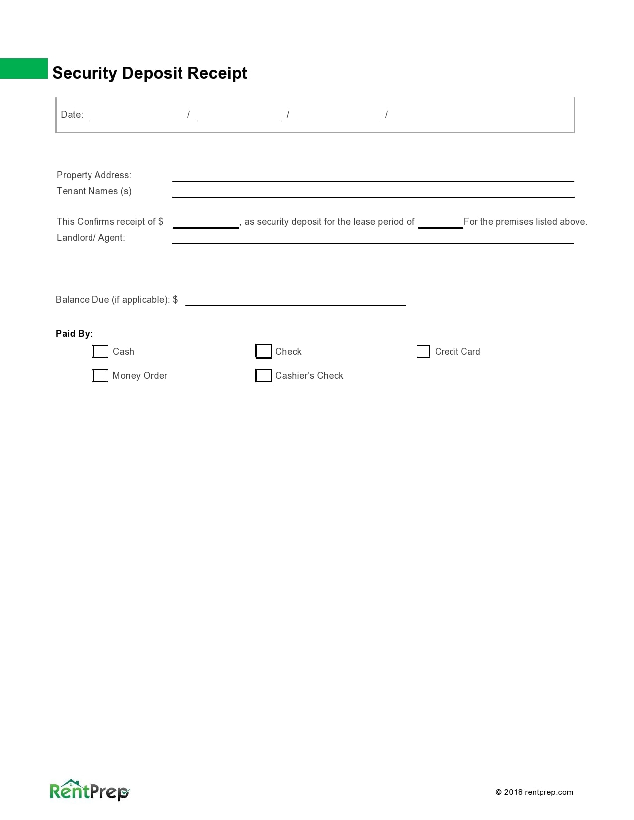 security deposit receipt 21