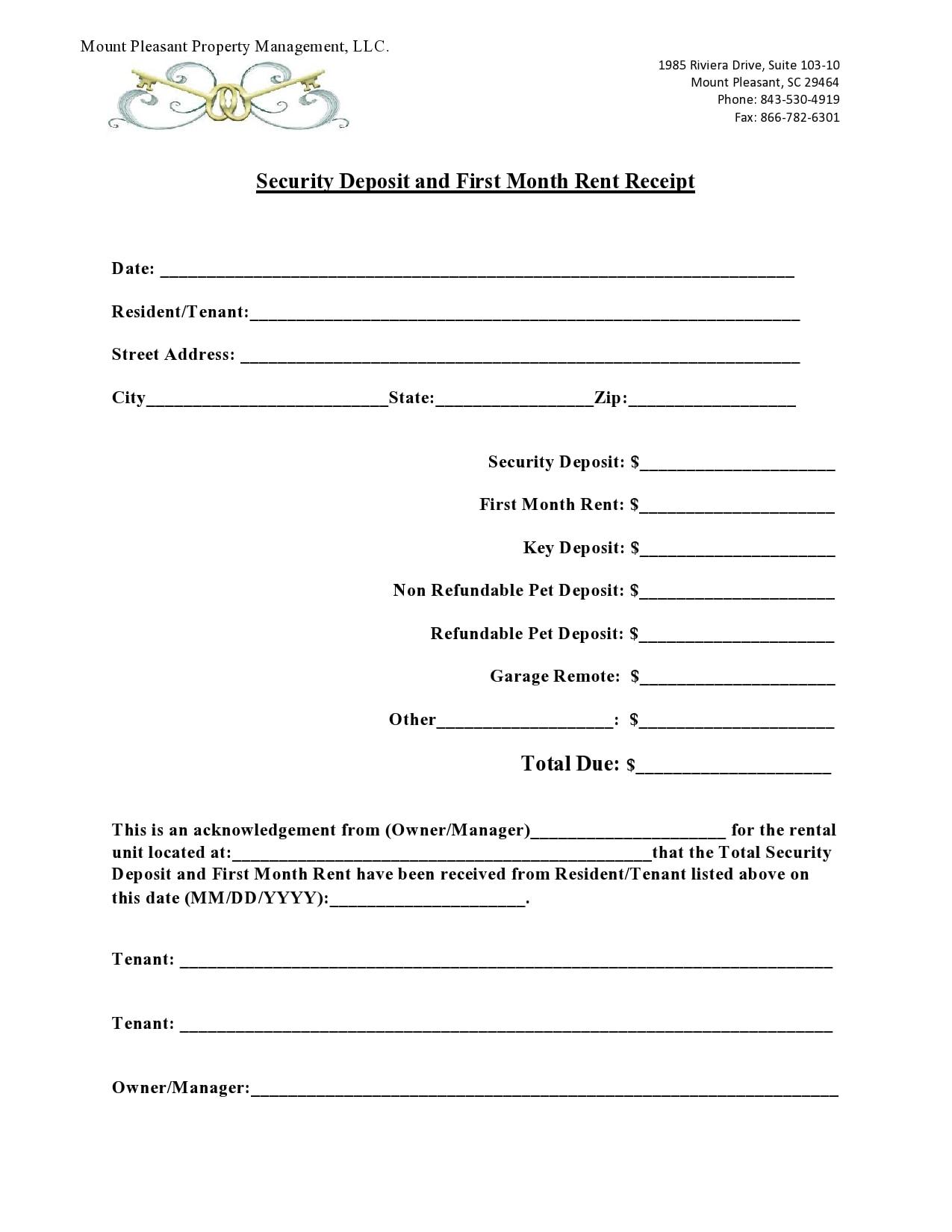 security deposit receipt 27