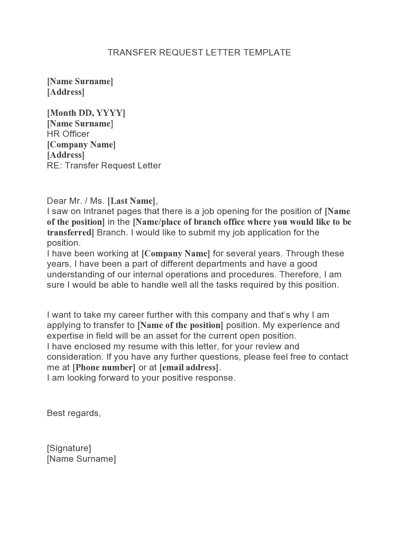 Transfer Request Letter Example from templatearchive.com