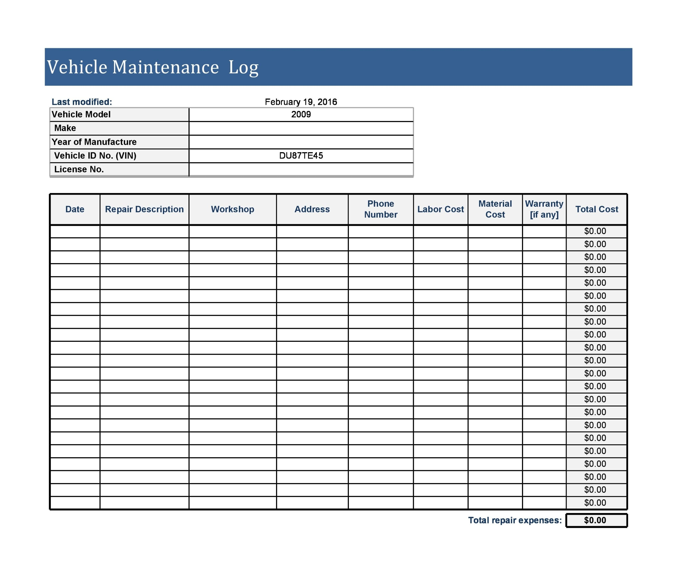 30 Free Vehicle Maintenance Logs Excel Pdf Word Templatearchive