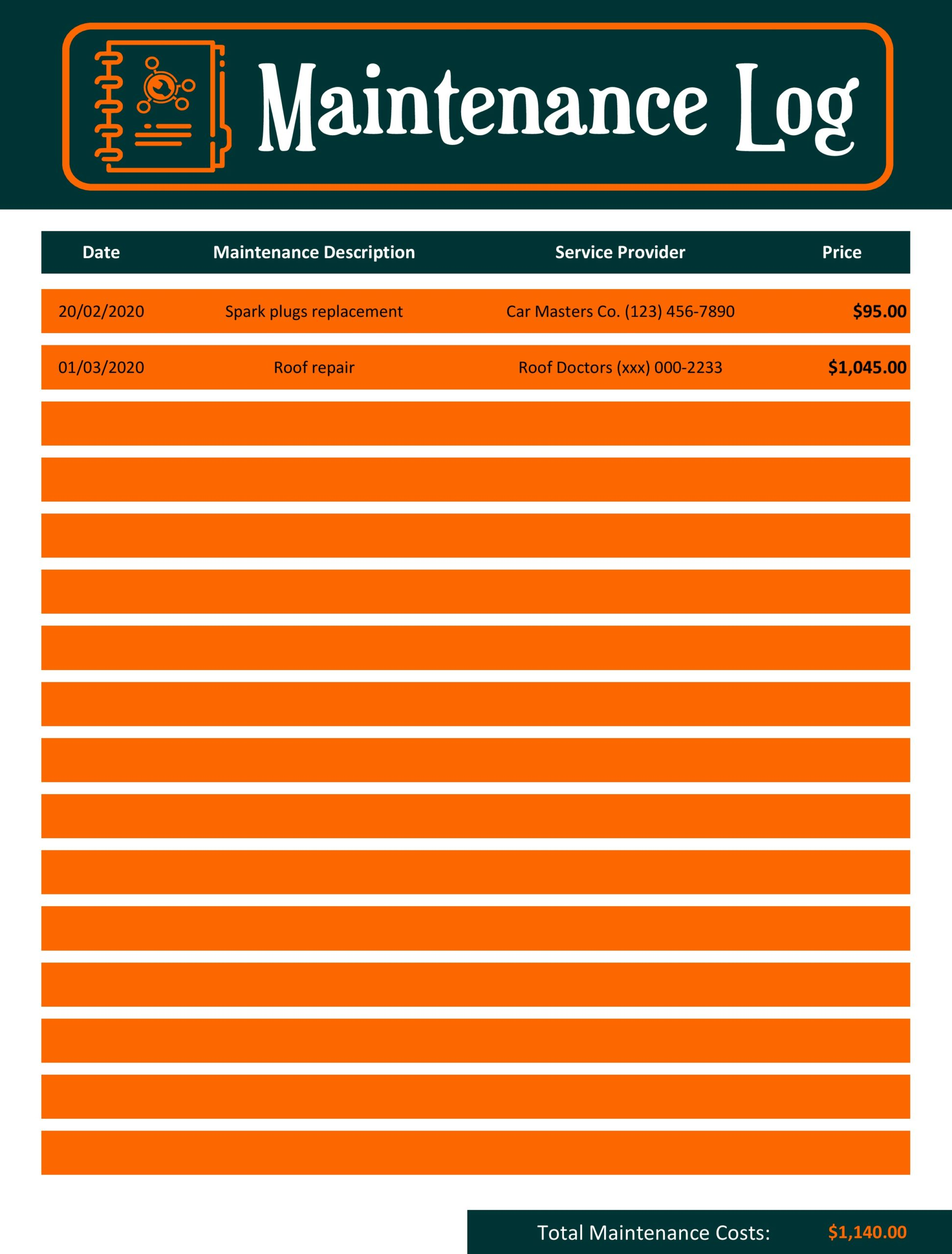 vehicle maintenance log 06