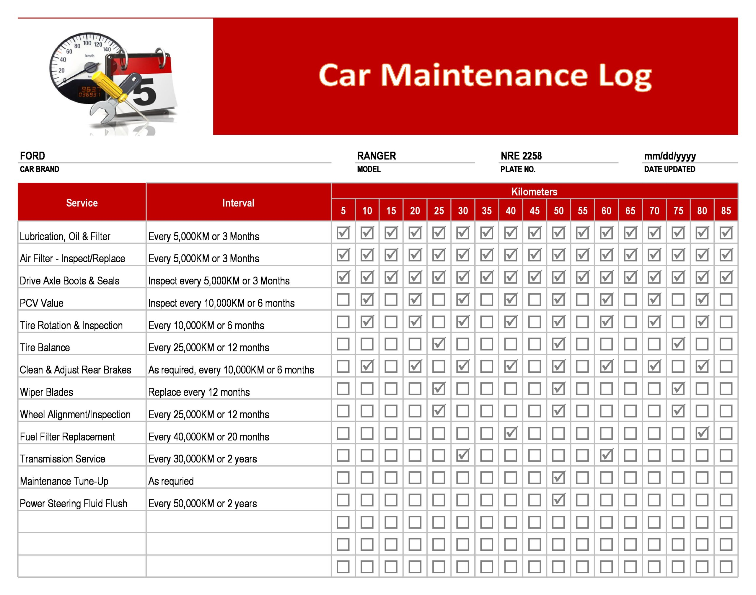 vehicle maintenance log 07