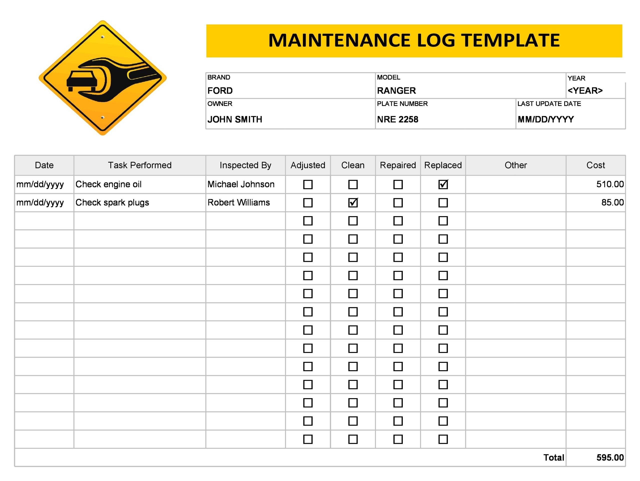 vehicle maintenance log 09