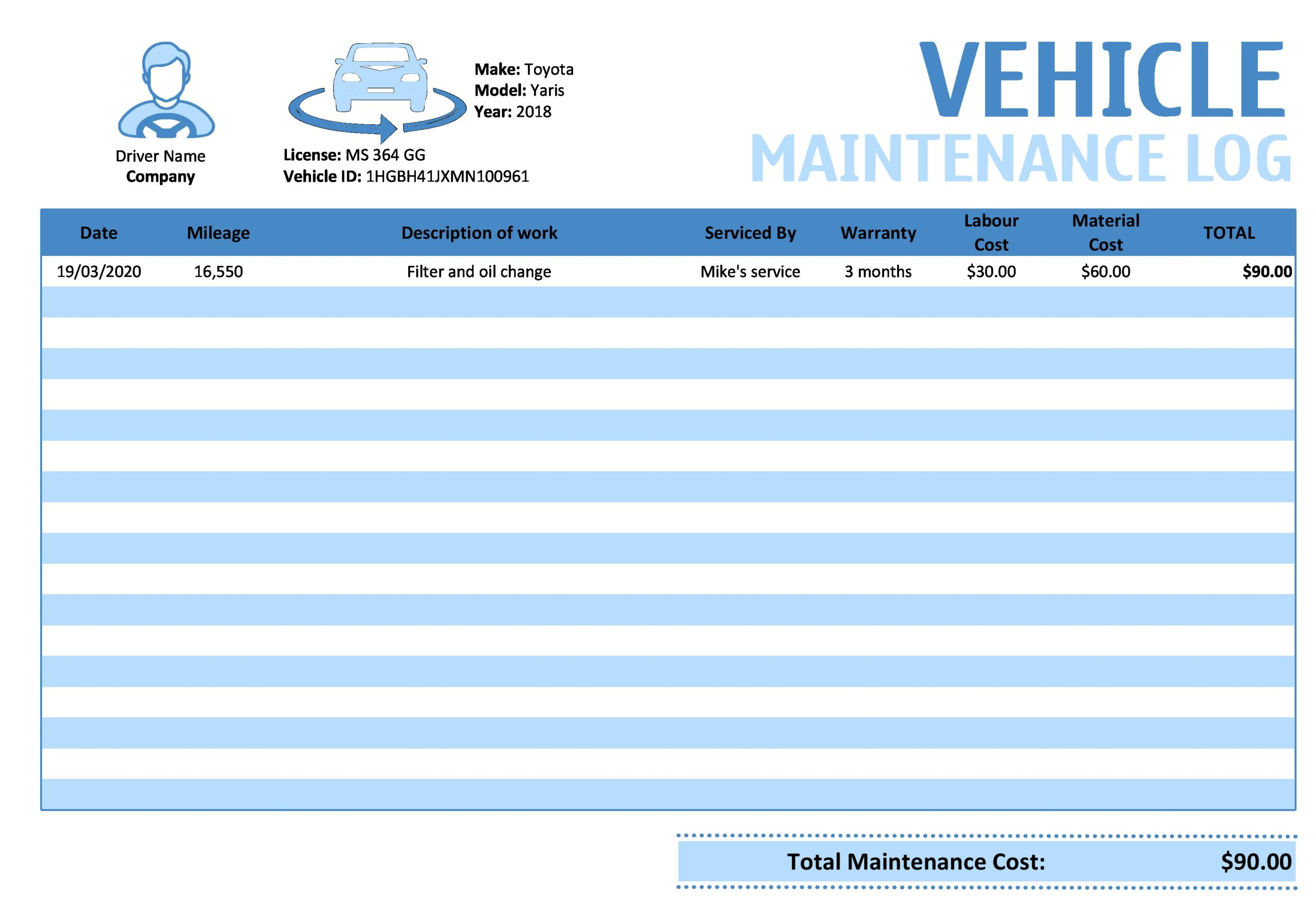 vehicle maintenance log 10