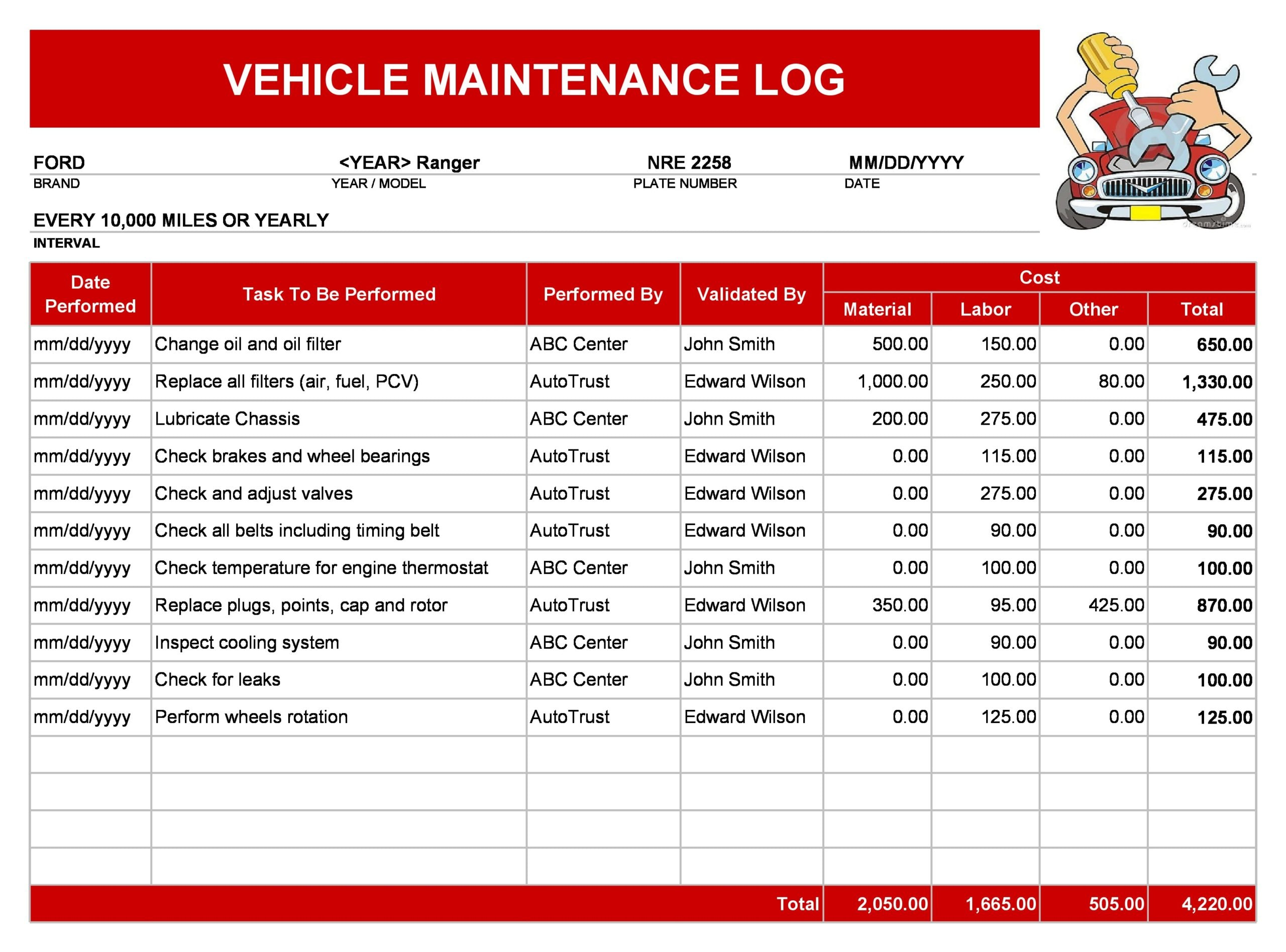 vehicle maintenance log 11