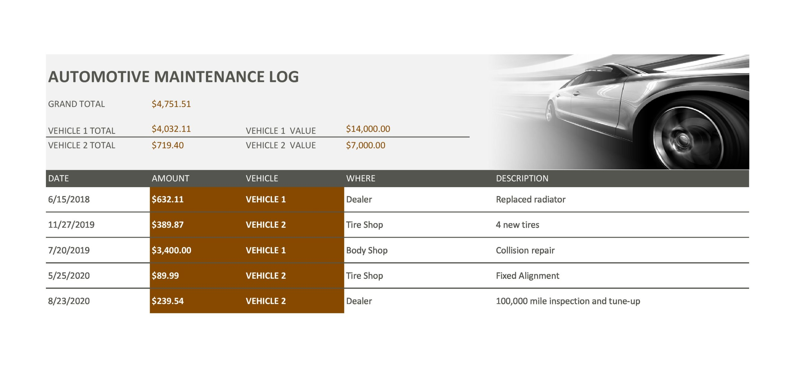 vehicle maintenance log 16