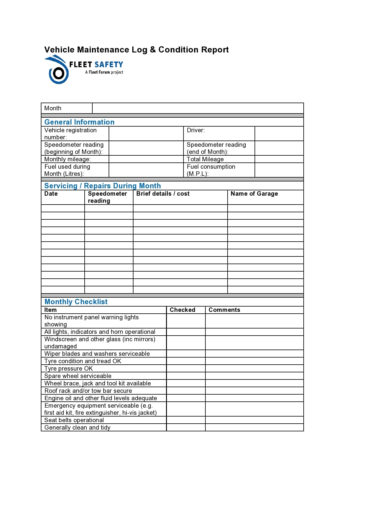 vehicle maintenance log 21