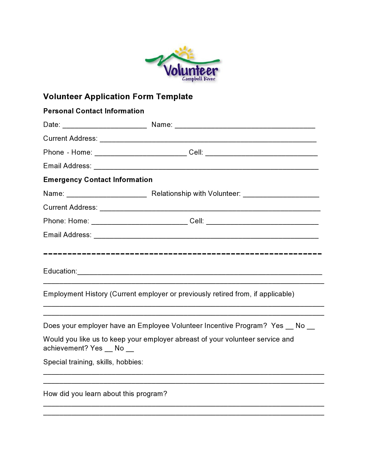 volunteer application template 01
