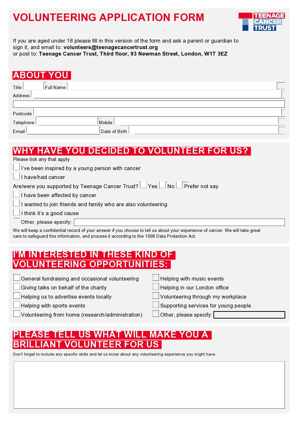 Volunteer Forms Template from templatearchive.com